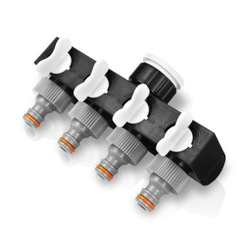 regulierbarer 4-Fach-Verteiler für Gartenschlauch Verteiler Schlauchverteiler