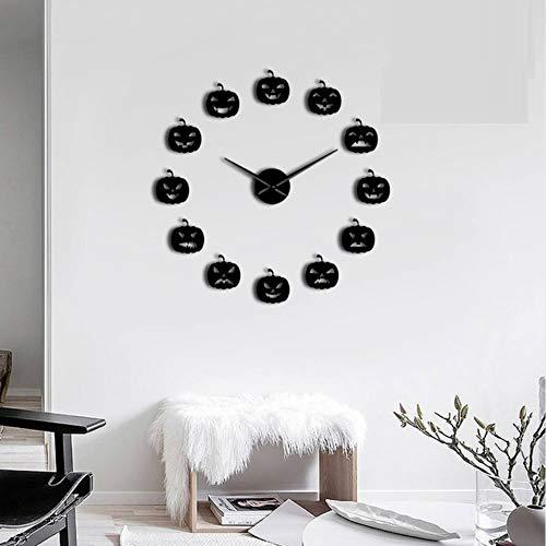 hysxm 37 inch Potiron sans Cadre 3D DIY Horloge Murale Halloween Cadeau De Noël Divers Citrouille Émotion Acrylique avec Autocollant Effet Miroir, Noir