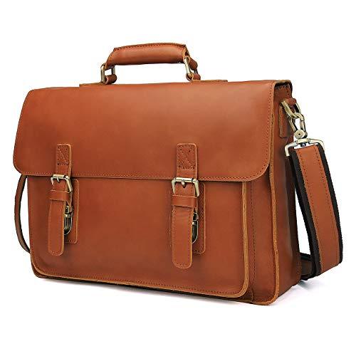 DONZ Herren Damen Aktentasche Leder Vintage Dokumententasche Lehrertasche Business Büro für große Aktenordner 14 Zoll Laptopfach echtes Rindsleder