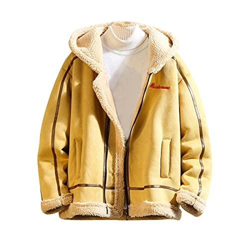Chaqueta con cremallera para hombre con capucha pesada para invierno, My10caqui, X-Large