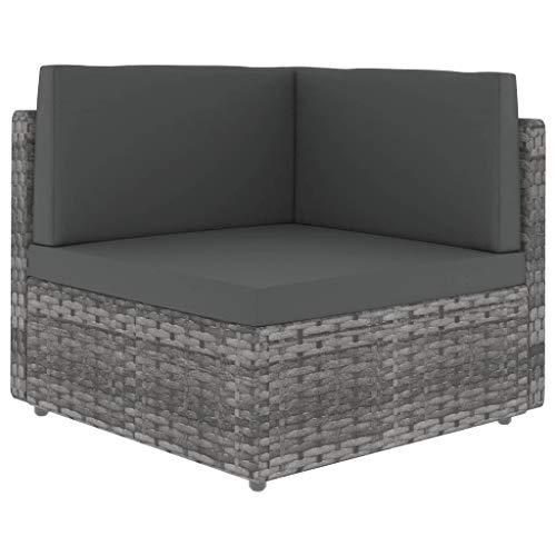 vidaXL Ecksofa Modular mit Auflagen Gartenmöbel Sofa Gartensofa Rattansofa Rattanmöbel Lounge Sessel Ecksessel Poly Rattan Stoff Stahl Grau