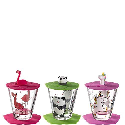 Leonardo Bambini Kindergläser, 3er Set, Kinder-Becher aus Glas mit Tier-Motiven, Deckel, Untersetzer, spülmaschinengeeignet 9 teilig, 215 ml, 034805