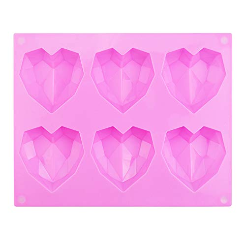 WANTOUTH Silikon Backform Herz Pink 3D Diamant Herz Silikonform Backformen Herzform 6 Herzchen Schokoladenformen 21.8 * 17 * 2.2 cm Herzbackform Kuchenform Herz für Kuchen, Muffincups, Schokolade