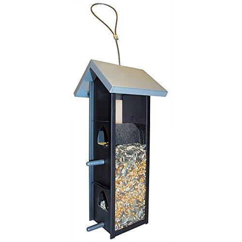 DILUMA Vogelfutter-Station 28 cm mit Plexiglas-Seiten Vogelhaus zum Hängen Futterspender mit 4 Futteröffnungen - Vogelfutter-Spender ideal für Wildvogelmischungen
