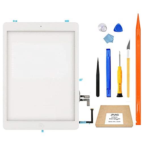 JPUNG Digitalizador para iPad Air 1 Pantalla táctil, para A1474 A1475 A1476 iPad Air 1ª generación, con botón de inicio, kit de reparación completo