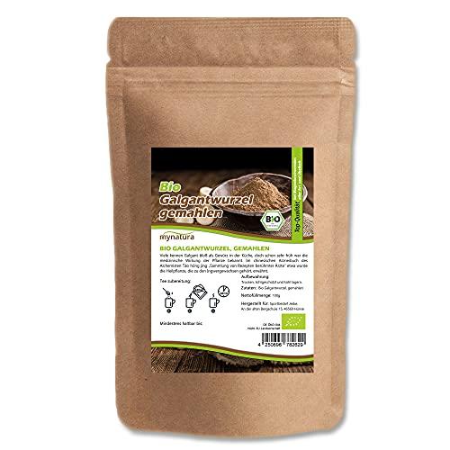 Mynatura Bio Galgantwurzel gemahlen 100g I Getrocknet I Galgant Pulver I Tee I Siam-Galgant I Naturprodukt I Im Beutel (500g)