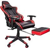 VADIM Gaming Stuhl Bürostuhl, Gamer Ergonomischer Stuhl Einstellbare 2D Armlehne Massage Lendenkissen Racing PU Leder hohe Rückenlehne Einstellbarer Neigungswinkel 155°,150kg Belastbarkeit