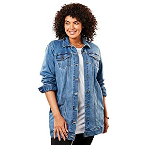 Women's Plus Size Long Stretch Denim Jacket