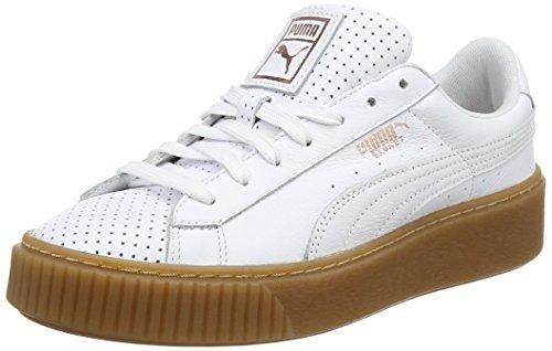 Puma Basket Platform Perf L, Zapatillas para Mujer, Blanco (White-Copper Rose), 38 EU