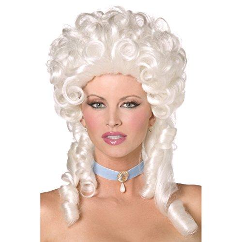 Amakando Perruque de Carnaval Baroque Renaissance Blanc Cheveux Bouclés Aristocrate Baronne Soirée Rococo Accessoire