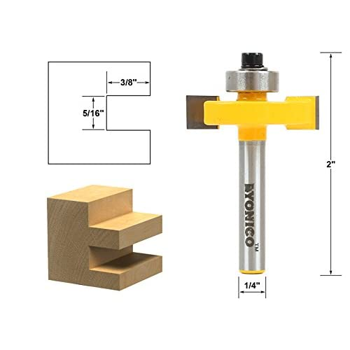5//16 7//16 1//8 3//8 Rabbet Router Bit with 6 Bearings Set for Multiple Depth 1//2 1//4 IsEasy 1//4 Inch Shank Tongue and Groove Set