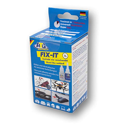 ATG110 FIX-IT -Transparent - Sekundenkleber Extra Stark Mit Granulat - Industriekleber für Porzellan Kunststoff Plastik Metall Holz - Transparent Granulat