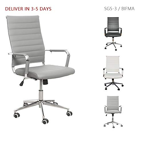 LUCKWIND Ergonomic Office Chair Ribbed Leather Swivel - Adjustable Height Tilt Arm Sleeves Lumbar Support High Back Upholstery Executive Conference Task Computer Chrome Wheel Caster 350lb (Grey)