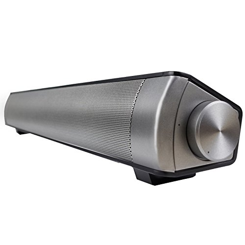 LP-08 Barra de Sonido para TV, Bluetooth inalámbrico Pared de Eco Altavoz de Cine en casa Entrada AUX TF Tarjeta MP3 Reproducción con Manos Libres Control Remoto con batería incorporada,Silver