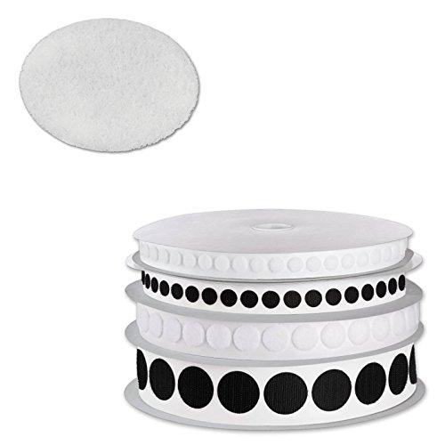 MASHPAPER Flauschpunkte Klettpunkte selbstklebend | weiß oder schwarz | Durchmesser frei wählbar | 19 mm weiß 856019