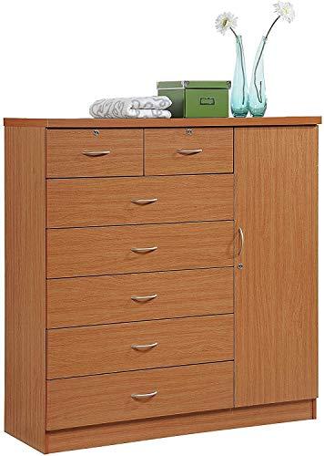 DKA Future Cherry Finish Wooden 7 Drawer Chest Dresser Clothes Storage 4 Shelf Side Door Lockable