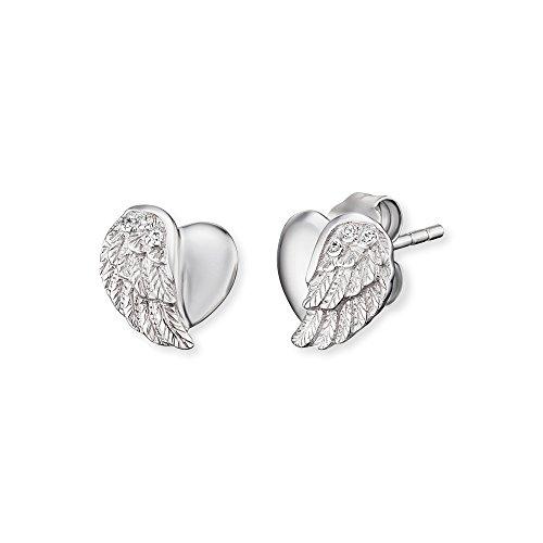 Engelsrufer Herzflügel Ohrstecker für Damen 925er-Sterlingsilber Größe 9 mm