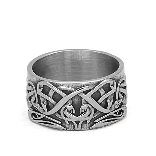 GuoShuang Celtic Ornament Knot Amulet Stainless Steel Ring