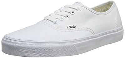 Vans 0EE3WOO: Authentic True White UNISEX Skateboard Sneakers (True White, 6.5 B(M) US Women / 5 D(M) US Men)