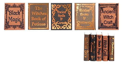 R.B. Foltz & Co. Dollhouse Miniature Set of 5 Witch Reference Halloween Books (Set 1)