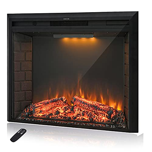 Masarflame 36'' Electric Fireplace Insert, Retro Recessed Fireplace Heater with Fire Cracking Sound, Remote Control & Timer, 750/1500W, Black