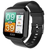 Fitness Tracker Gesundheits Fitness Smartwatch Wasserdicht IP68 Fitness Armband mit Pulsmesser Farbbildschirm Aktivitätstracker Pulsuhren Schrittzaehler Uhr (Schwarz)