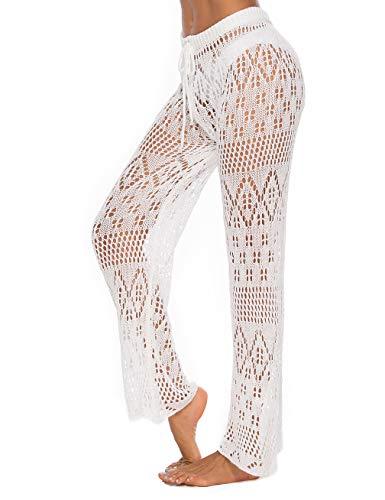 Women Crochet Pants White Fishnet Swimsuits Bathing Suit Beach Cover Up Pants