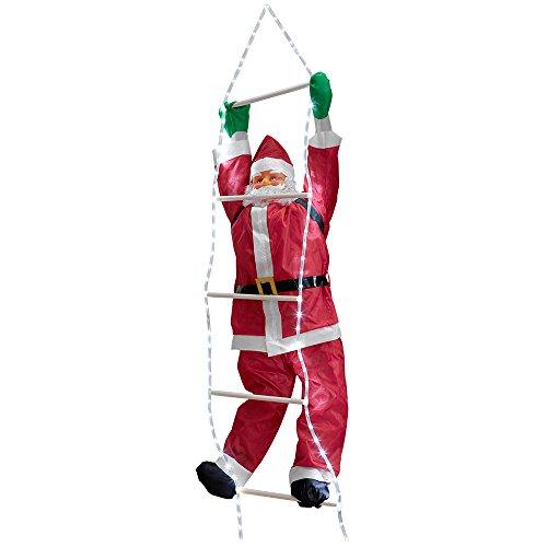 [en.casa] Weihnachtsmann auf LED Leiter 250 cm Weihnachts Deko Weihnachten Figur Nikolaus
