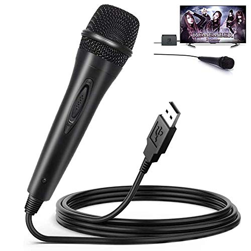 Elyco Micrófono USB para Nintendo Switch, Universal USB Super Ligero Microphone para Nintendo Switch/PS3/PS4/Xbox One/Wii/PC/Game(Guitar Hero,Rock Star,Lets Sing)