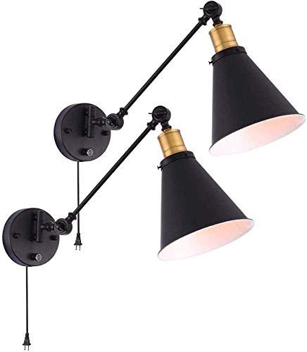 Lámpara industrial, Luz de pared, lámpara de pared negra de la vendimia con enchufe en el cable de encendido / apagado del interruptor de la fijación ajustable SIMPLICIDAD SWING BRAZO DE LA PARED PARA