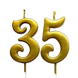 Gold 35th Birthday Numeral Candle, Number 35 Cake Topper Candles Party Decoration for Women or Men