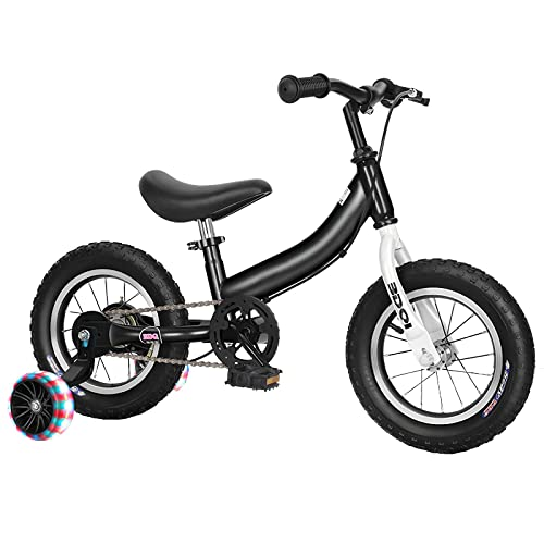 DFBGL Bicicleta de Equilibrio para niños y Pedales Bicicleta de conversión Libre, 12 14 16 Pulgadas Bicicleta para niños, con Kit de Pedales, Ruedas de Entrenamiento, Frenos, Altura del