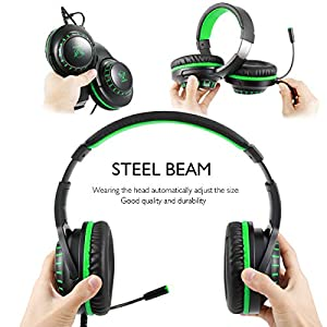 Pacrate H-11 Gaming Headset for PS4, Crystal Stereo Sound Gamer Headphones, Noise Reduction 3.5 mm Headset with Sensitive Microphone & Intense bass for Xbox One PC Computer Laptop Mac