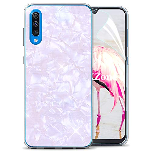 OKZone Cover Samsung Galaxy A50 [con Pellicola Proteggi Schermo], Custodia con Carino Brillantini Ultra Sottile Design Case Silicone TPU Cover per Samsung Galaxy A50 (Bianca)