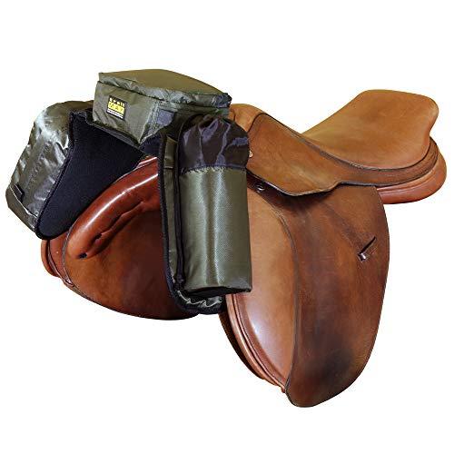 TrailMax Kompakte Englische Satteltasche mit Pommel und Wasserflaschenhülle für Trail Riding, funktioniert mit englischen, Endurance-& australischen Satteln, Salbeigrün