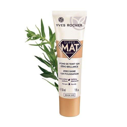 Yves Rocher COULEURS NATURE ZERO SHINE mattierendes Fluid Beige 200, Foundation für fettige Haut & Mischhaut, 1 x Tube 30 ml