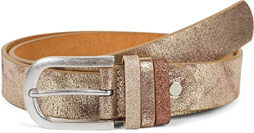 styleBREAKER Damen Gürtel Uni mit Glitzer Schlaufe, kürzbar 03010091, Größe:85cm, Farbe:Antik-Gold