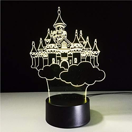 ganjue Mode 7 Changement de Couleur 3D Fantasy Château Dans Le Ciel Lampe De Table Enfant Enfant Chambre Décor Night Light Friend Cadeaux