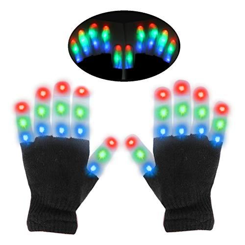 HOWAF LED Handschuhe, leuchtende Handschuhe Kinder, 6 Modi Glühen Handschuhe für Party Tanzen, Festivals, Weihnachten, Bonfire Night, Mitgebsel Kindergeburtstag gastgeschenke, Laufen, Sport