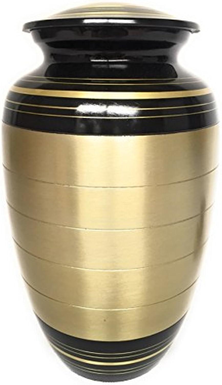 DFS Large gold & Black Ashes Urn Cremation Funeral Memorial Container Vase Jar