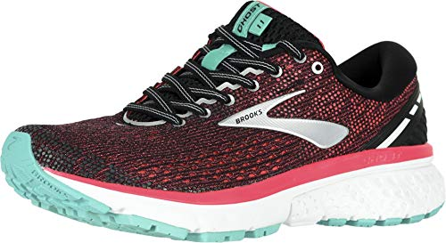 Brooks Womens Ghost 11 Running Shoe - Black/Pink/Aqua - B - 9.0