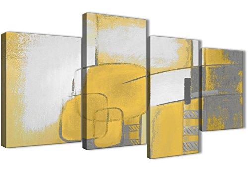 Grande Amarillo Mostaza Gris Pintura abstracta dormitorio cuadros en lienzo Decor–4419–130cm juego de Prints Wallfillers