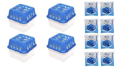 VANI 4 x Box + 8 x 400 Gramm Luftentfeuchter (4D) + Gratis Microfasertuch 30 x 30 cm Nachfüllpack Vliesbeutel XXL Box Granulate Nachfüllen Raumentfeuchter