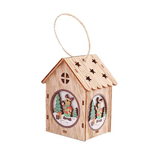 Amosfun LED Weihnachtsbaum Anhänger Deko Weihnachtshaus DIY Mini Holzhaus zum Bemalen Christbaumanhänger Holz Christbaumschmuck Baumschmuck Weihnachten Deko Anhänger