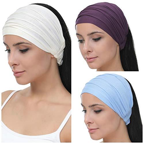 Deresina Stirnband für Haarverlust aus Bambus Stoff, Elastisch (Sky Blue - Cream - Mulberry)