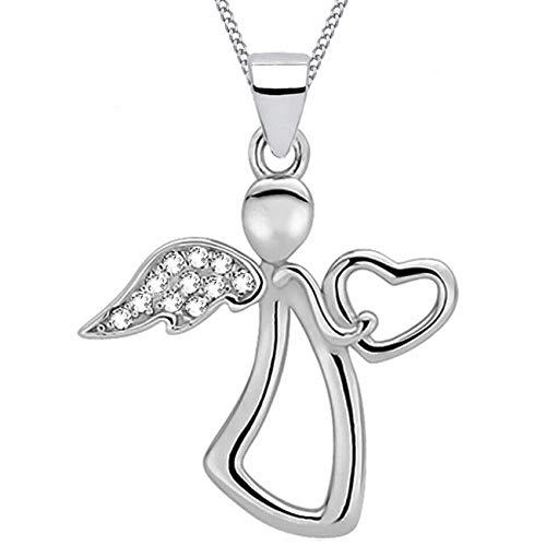 Schutzengel Anhänger + Kette 925 Echt Silber Kinder Damen Mädchen Engel (5) Engel mit Zirkonia, 50)