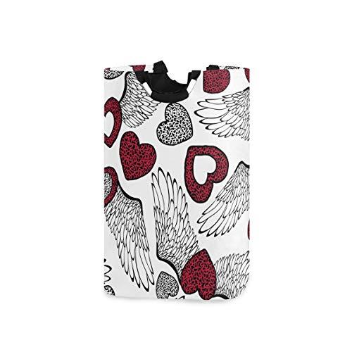 ZOMOY Multifunktionale Faltbarer Schmutzige Kleidung Wäschekorb,Vektor Valentinstag Muster Herzen Flügel,Household Wäschebox Spielzeug Organizer Aufbewahrungsbeutel mit Henkel