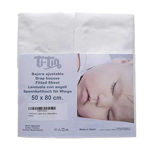 Ti-Tín hoeslaken, voor kleine bedden, 100% percale katoen, 2 stuks, wit, verstelbaar, met elastiek, 50 x 80 cm