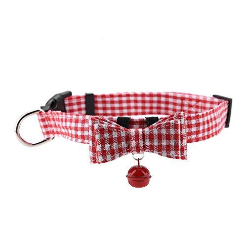 Pssopp hondenhalsband met bel, halsband voor katten, vlinders, met verstelbare bel, schattige halsband voor honden, strik, S, Roze