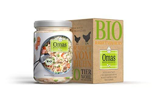Omas BESTE REZEPTE - 5 Gläser Bio Ragout vom Huhn - Hühnerfrikassee mit Erbsen, Pilzen und Spargel - Ohne Zusatzstoffe - Einfache Zubereitung - 5x 360g